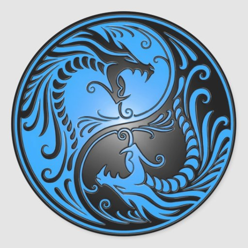 Yin Yang Dragons, blue and black Stickers