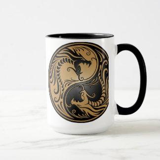 Yin Yang Dragons, brown and black Mug