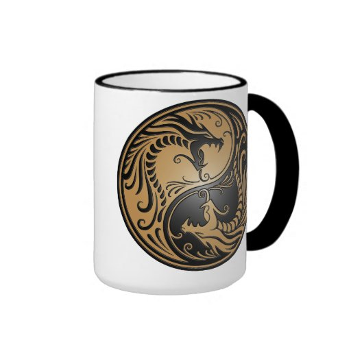 Yin Yang Dragons, brown and black Coffee Mug