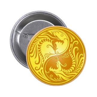 Yin Yang Dragons, brown and yellow Pins