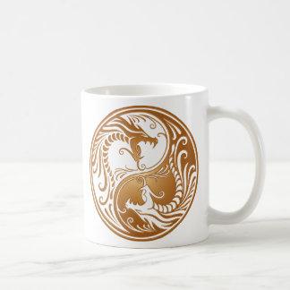 Yin Yang Dragons, brown Mugs