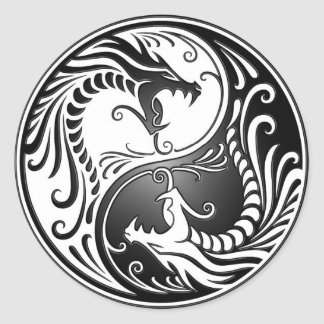 Yin Yang Dragons Classic Round Sticker
