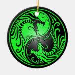 Yin Yang Dragons, green and black