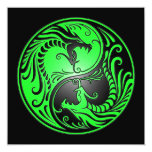 Yin Yang Dragons, green and black 13 Cm X 13 Cm Square Invitation Card