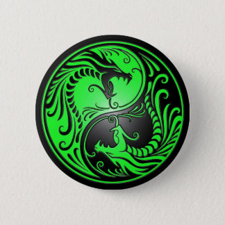 Yin Yang Dragons, green and black 6 Cm Round Badge