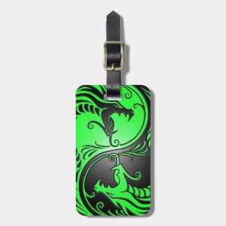 Yin Yang Dragons, green and black Bag Tag