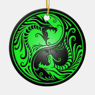 Yin Yang Dragons, green and black Christmas Ornament