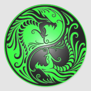 Yin Yang Dragons Green And Black Classic Round Sticker