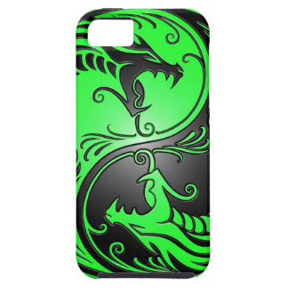 Yin Yang Dragons, green and black iPhone 5 Case