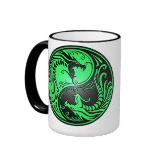 Yin Yang Dragons, green and black Coffee Mugs