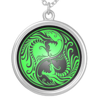 Yin Yang Dragons, green and black Necklaces