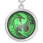 Yin Yang Dragons, green and black Necklaces