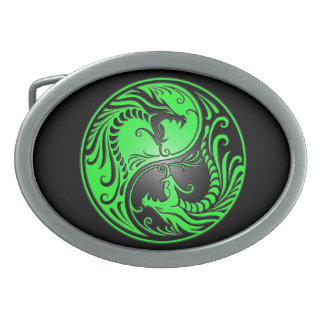 Yin Yang Dragons, green and black Oval Belt Buckle