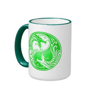 Yin Yang Dragons green Coffee Mugs