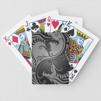 Yin Yang Dragons, grey and black Bicycle Playing Cards
