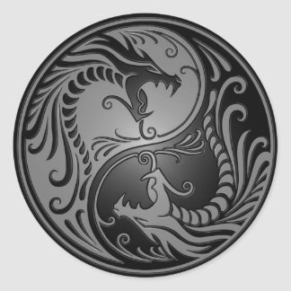 Yin Yang Dragons, grey and black Classic Round Sticker