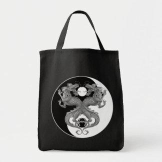 Yin Yang Dragons Grocery Tote Bag