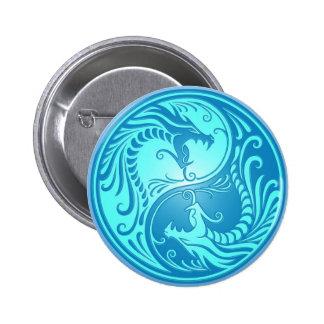 Yin Yang Dragons light blue Pinback Button