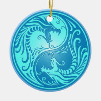 Yin Yang Dragons, light blue Round Ceramic Decoration
