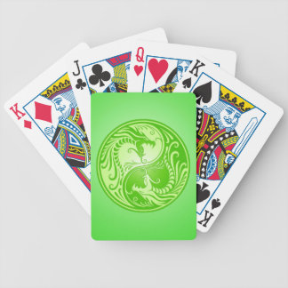 Yin Yang Dragons, light green Bicycle Playing Cards