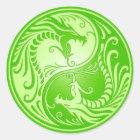 Yin Yang Dragons, light green Classic Round Sticker