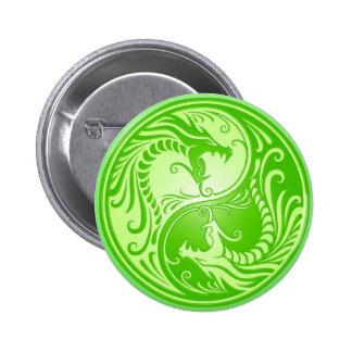 Yin Yang Dragons light green Pinback Buttons