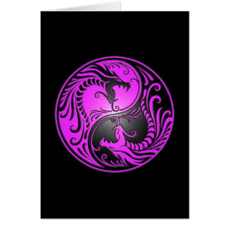 Yin Yang Dragons, purple and black Card