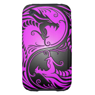 Yin Yang Dragons, purple and black Tough iPhone 3 Cover