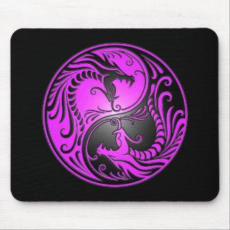 Yin Yang Dragons, purple and black Mouse Mat