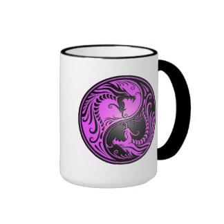 Yin Yang Dragons, purple and black Mug