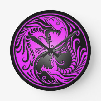 Yin Yang Dragons, purple and black Round Clock