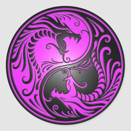 Yin Yang Dragons, purple and black Round Stickers