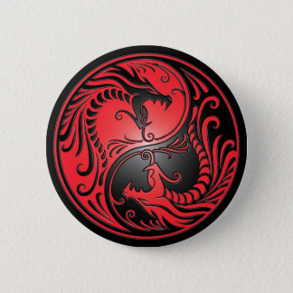 Yin Yang Dragons, red and black 6 Cm Round Badge