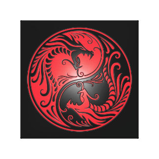 Yin Yang Dragons, red and black Canvas Print