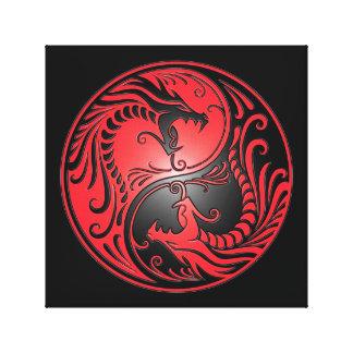 Yin Yang Dragons, red and black Canvas Prints