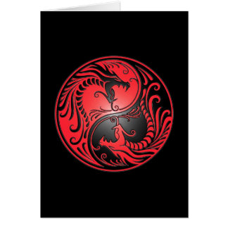 Yin Yang Dragons, red and black Card