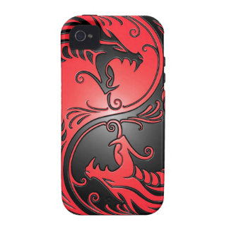 Yin Yang Dragons red and black iPhone 4/4S Covers