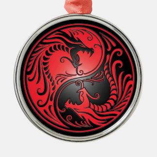 Yin Yang Dragons, red and black Christmas Ornament