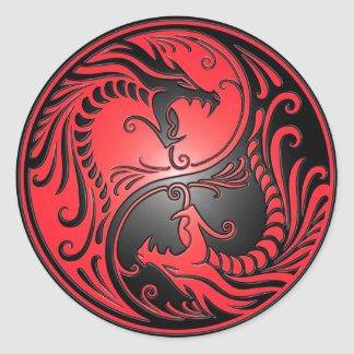 Yin Yang Dragons, red and black Classic Round Sticker
