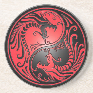 Yin Yang Dragons, red and black Drink Coasters