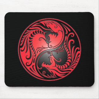 Yin Yang Dragons, red and black Mouse Mat