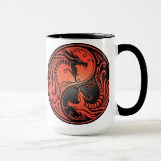 Yin Yang Dragons, red and black Mug