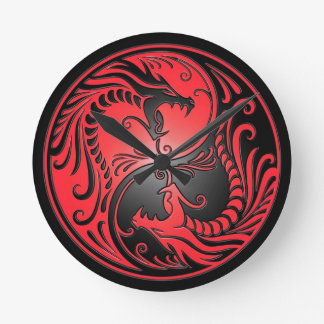 Yin Yang Dragons, red and black Round Clock