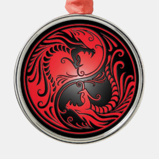 Yin Yang Dragons, red and black Silver-Colored Round Decoration