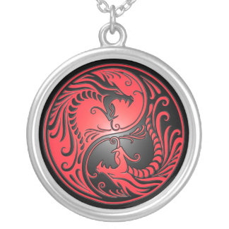 Yin Yang Dragons, red and black Silver Plated Necklace