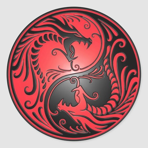 Yin Yang Dragons, red and black Stickers