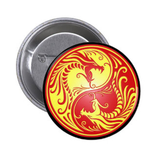 Yin Yang Dragons, red and yellow Pinback Button