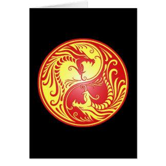 Yin Yang Dragons, red and yellow Card