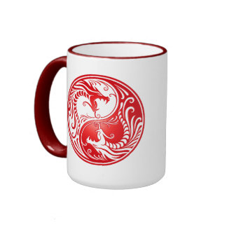Yin Yang Dragons red Coffee Mugs