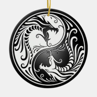 Yin Yang Dragons Round Ceramic Decoration